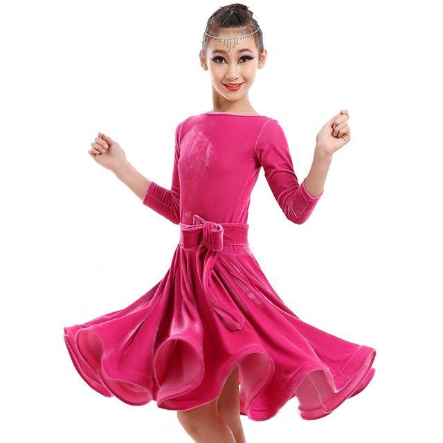 2016 salle de bal de danse robes enfants 2 pcs ( robe + ceinture ) robe pour les filles de danse latine Flamenco robe vêtements de danse Samba Costumetango jupe