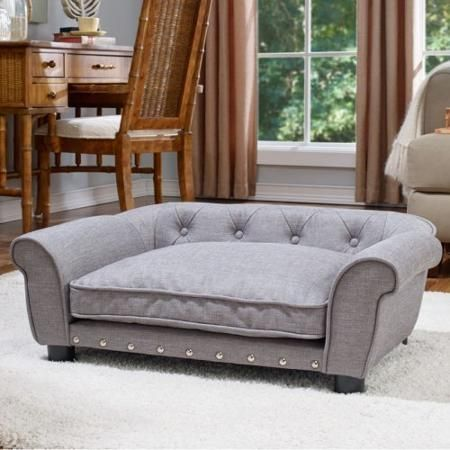 enchanted home pet brisbane linen tufted pet bed