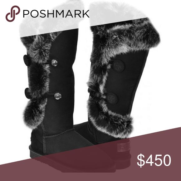 """AUSTRALIA LUXE NORDIC ANGEL Shearling BOOTS 8 Amazing luxurious brand new with original box Australia Luxe Collective """"Nordic Angel"""" X-TRA tall black sheepskin shearling boots, with lush rabbit fur trim. The rabbit trim is beautiful & plush very reminiscent of luxurious silver fox fur! MINT condition! Ready for shipment. Rare + hard to fine item!  A great opportunity for you to grab them now! Size 8! You will be the belle of the winter ball in these amazing eyecatching boots! =) =) My loss…"""