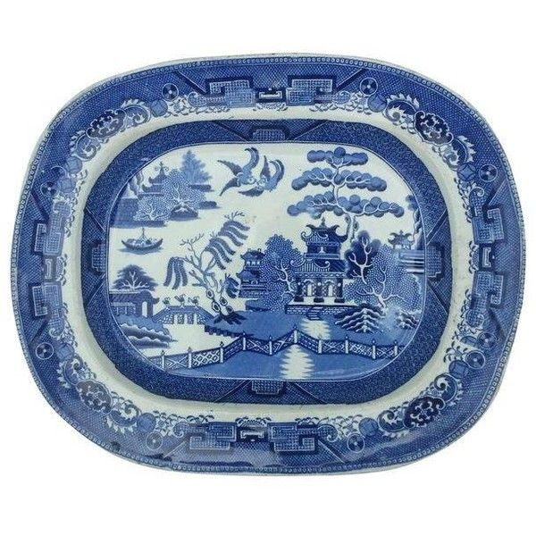 Victorian Blue Willow Platter ($175) ❤ liked on Polyvore featuring home, kitchen & dining, serveware, serving trays, willow platter, blue serving tray, blue serving platter, blue platter and blue willow platter