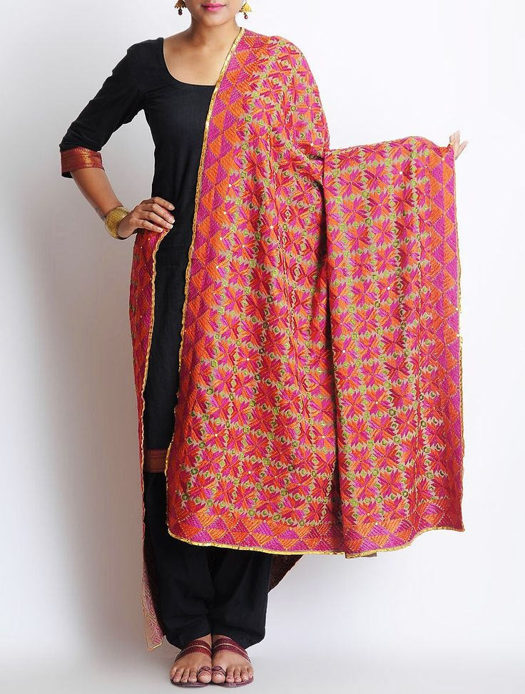 Buy Fuschia Orange Crepe Phulkari Dupatta Accessories Dupattas The Spirit of Punjab Embroidered Apparels and Decor Accents Online at Jaypore.com
