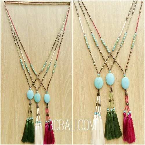beads tassels stone caps three color handmade - beads tassels stone caps three color necklaces handmade