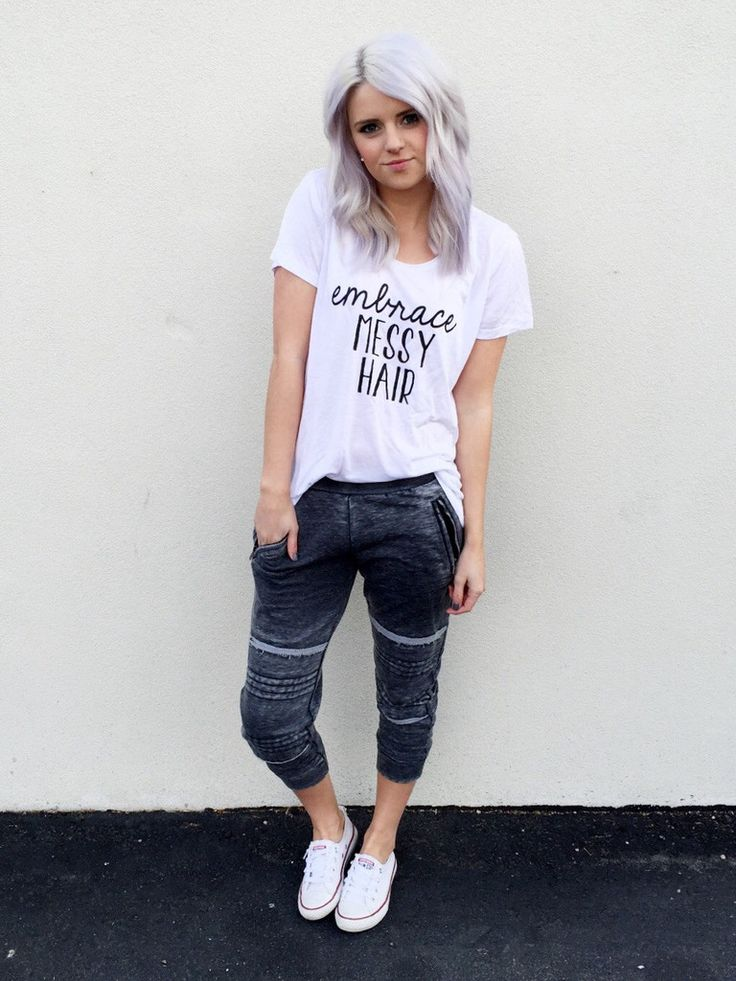 || Fleece Lined Joggers $28 | Embrace Messy Hair Tee $24 || -Seven & Co Boutique #converse #joggers #messyhairdontcare #embracemessyhair