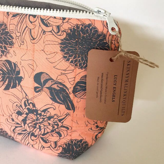Gifts under £50  Dark Floral Large Makeup Bag/ Project bag in Peach. Dark Floral collection featuring hand drawn chrysanthemum, dahlia and monstera