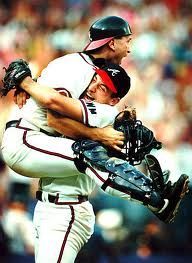 Braves win! 1991 Greg Olson and John Smoltz. moments like THIS is why baseball is my favorite sport.
