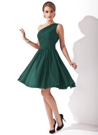 Chiffon One-shoulder Knee-length Bridesmaid Dress