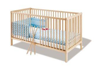 Pinolino+Kinderbett+Hanna,+Buche+massiv+unbehandelt,+Buche+massiv+unbehandelt+(70x140cm)+-+Umbaubar+zum+Juniorbett.+Sorgfältig+und+liebevoll+hergestellt.