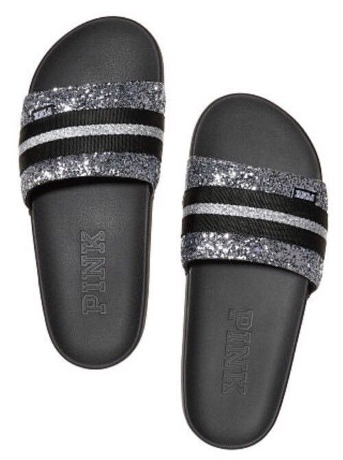 d5a881f2fd3 New Victorias Secret Pink Single Strap Slides Glitter Black   Silver Medium  M  fashion  clothing  shoes  accessories  womensshoes  sandals (ebay link)