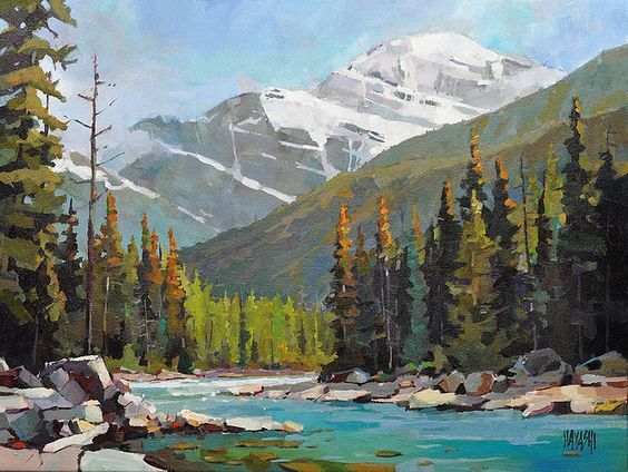 acrylic mountain landscape painting. locations in the chateau whistler banff springs and jasper park lodge mountain galleries features a beautifully diverse range of canadian art acrylic landscape painting