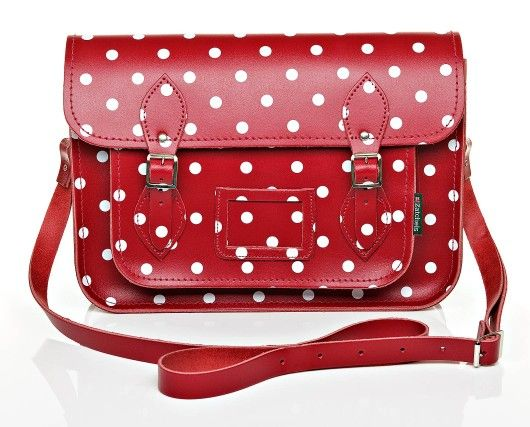 Satchel | Handmade leather | Red | Polka Dots