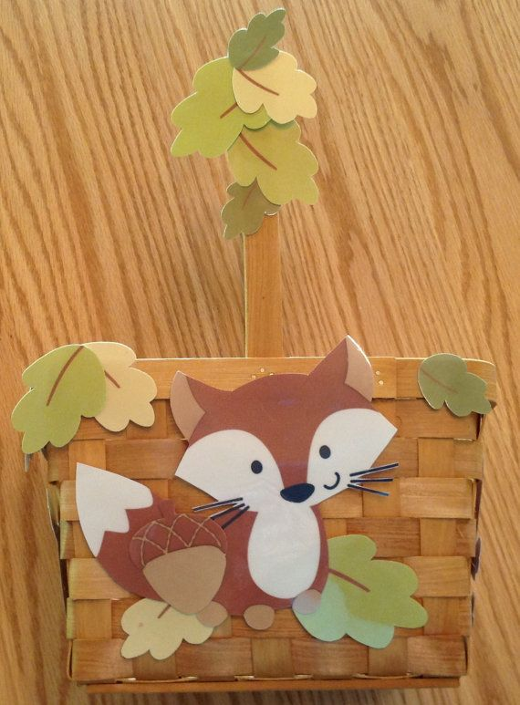 Forest Friends Fox baby shower basket 12 place by DebbysCrafts, $27.99