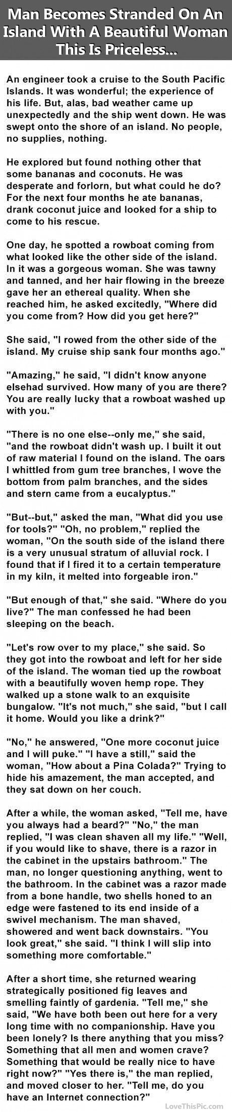 Man Becomes Stranded On An Island With A Beautiful Woman This Is Priceless funny jokes story lol funny quote funny quotes funny sayings joke hilarious humor stories funny jokes adult jokes