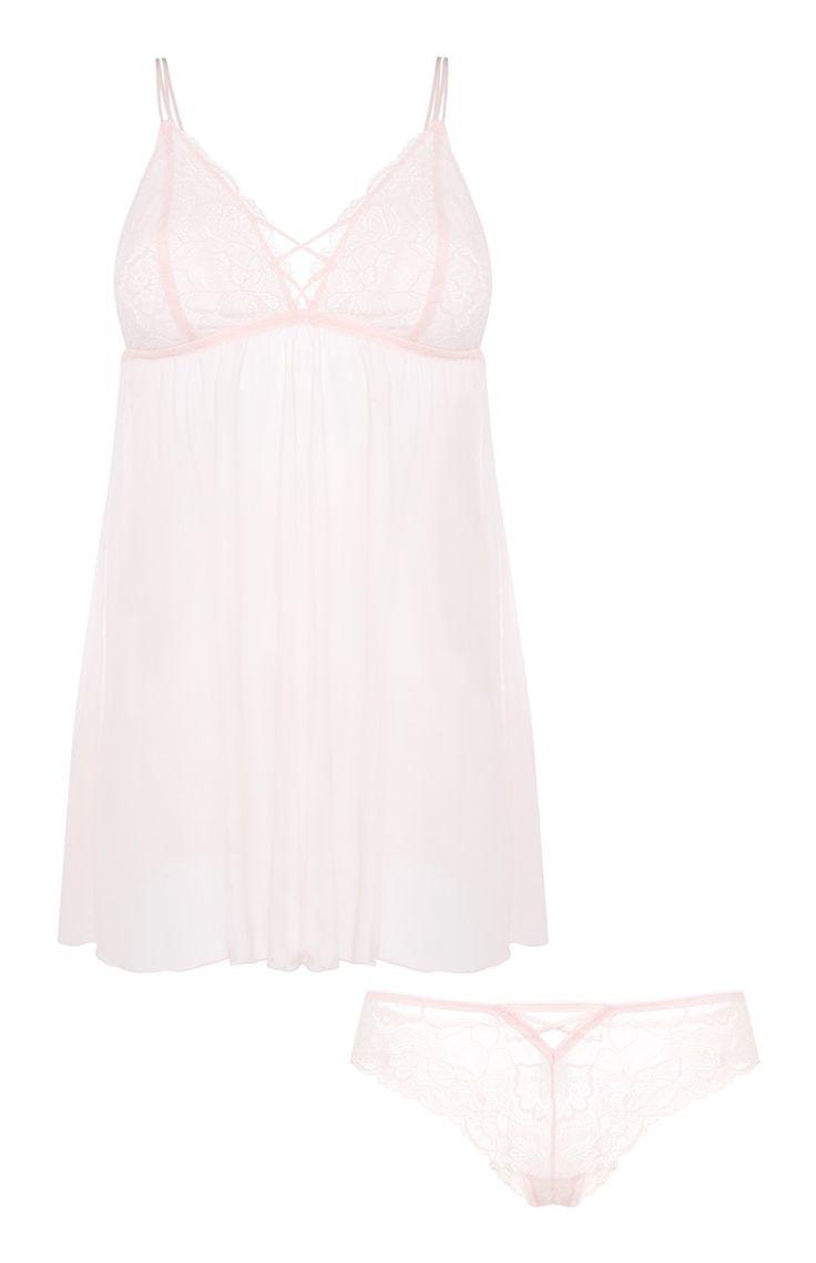 Primark - Pinkes Wäscheset mit Babydoll und Slip