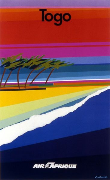 Air Afrique (Africa Airlines) - Togo beach travel poster