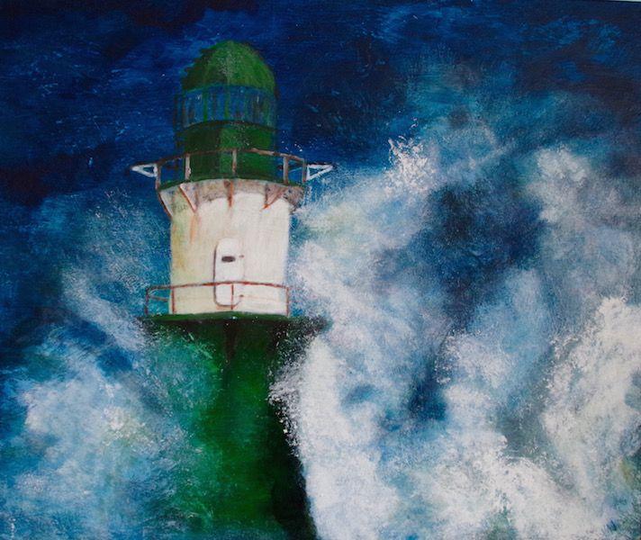 Rostock Warnemünde Osten Leuchtturm Grün Wellen Gischt Acrylbild Malen mit Acryl - Acrylmalerei