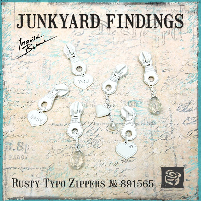 Junkyard Findings by Ingvild Bolme - Prima Rusty Typo Zippers Metal embellishments