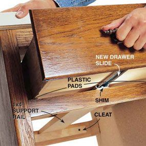 Fixing Drawers: How to Make Creaky Drawers Glide (replacing worn-out drawer slides with ball-bearing slides)