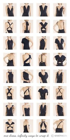 Do you need to know how to wrap your infinity dress? here see more than 20 styles! Backless, one shoulder, strapless, asymetrical, sleeves, V neckline,