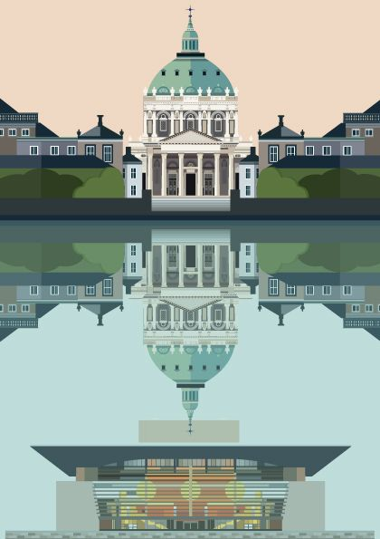 Copenhagen Postcard - Marble church and reflected Opera House - Designed and illustrated by Sivellink for her Copenhagen Illustration blog - An Icon a Day - København, CPH illustration