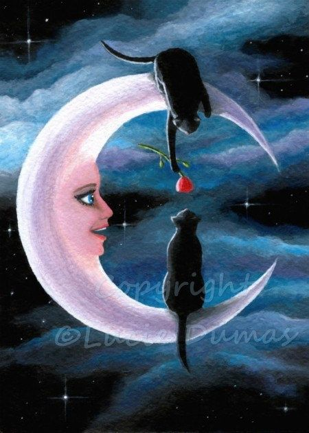 ACEO art print black Cat 581 crescent moon from fantasy painting by Lucie Dumas