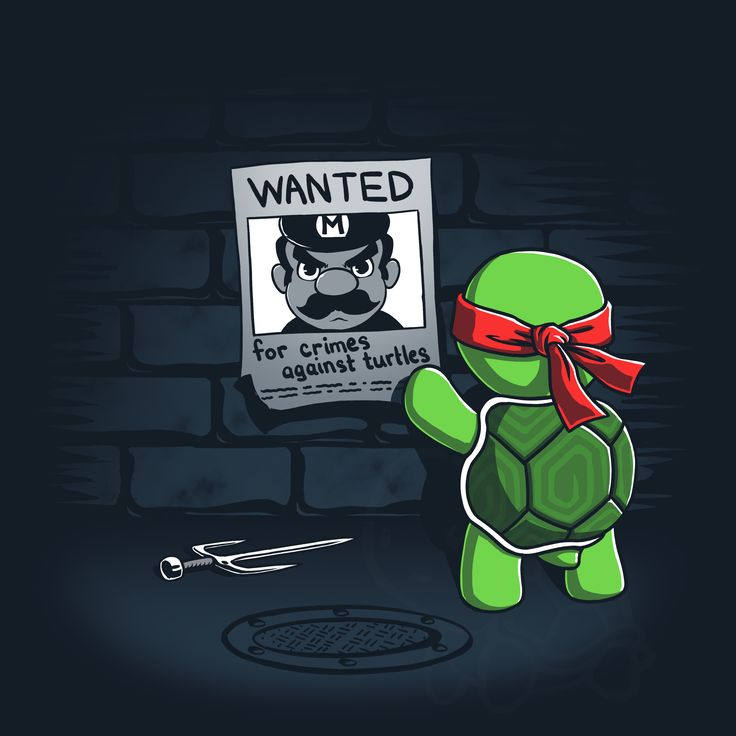 "Also wanted for: reckless driving, possession of performance enhancing mushrooms, and misuse of the public sewer system. ""Wanted"" is available for pre-order for $12 for just 48 hours. Get yours now and support the turtles: http://www.teeturtle.com/products/wanted"