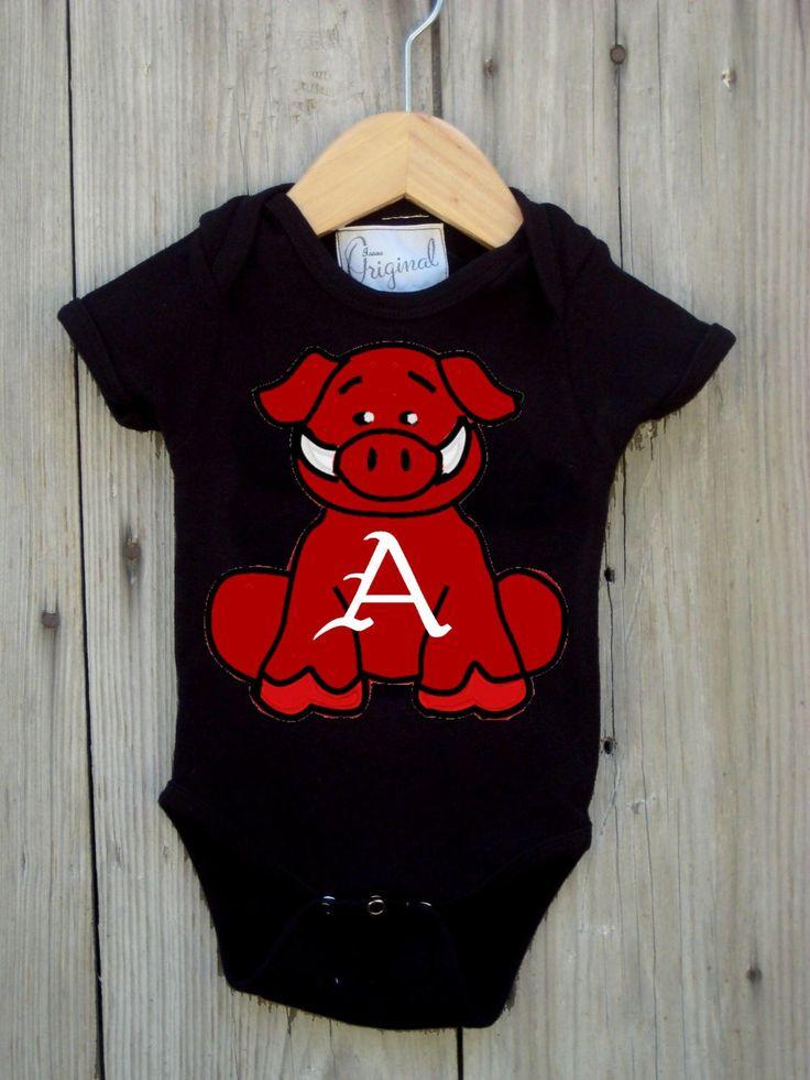 A personal favorite from my Etsy shop https://www.etsy.com/listing/196554677/razorback-bodysuit-for-baby-boy