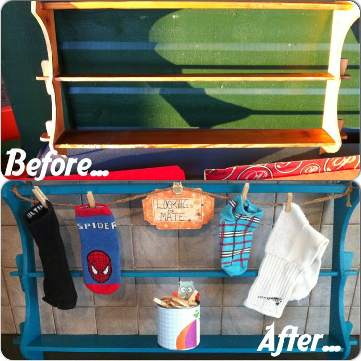 This old plate shelf became a smart solution for our clean, single socks :-) the can with the owl-paper take care of the clothespins!