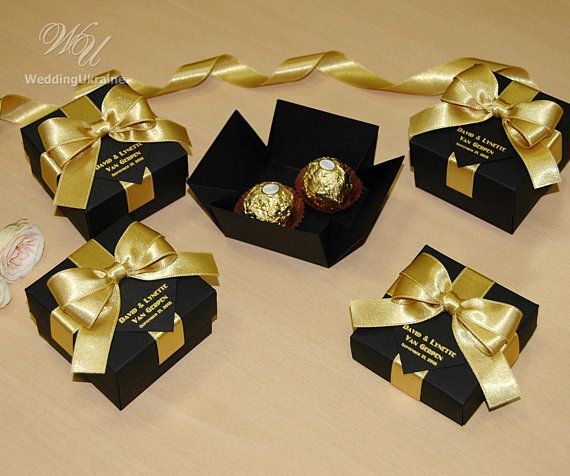 25 Black Gold Wedding Favor Gift Box With Satin Ribbon Bow And