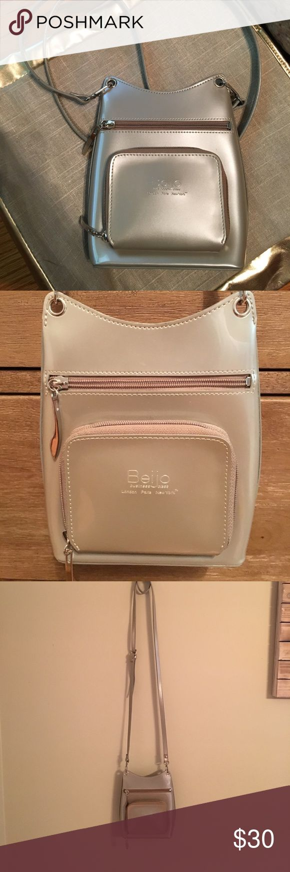 Beijo Crossbody Bag Beijo Crossbody Purse! Champagne color 🥂 with silver accents and details! Flawless, like new! Beijo Bags Crossbody Bags