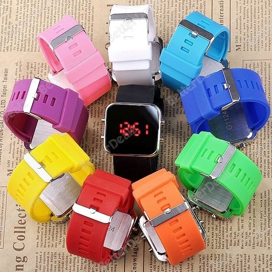 10 colors Fashion Mirror Date LED Digital Sport Men Male Wrist Silicone Watch Unisex Gift