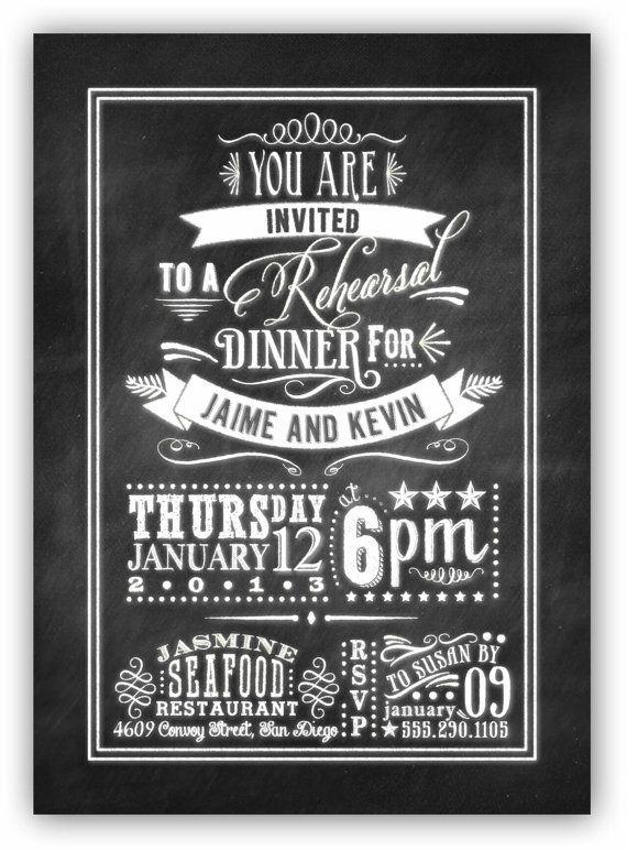 Chalkboard Art Rehearsal Dinner Invite 5x7 by JamesPaigeDesign