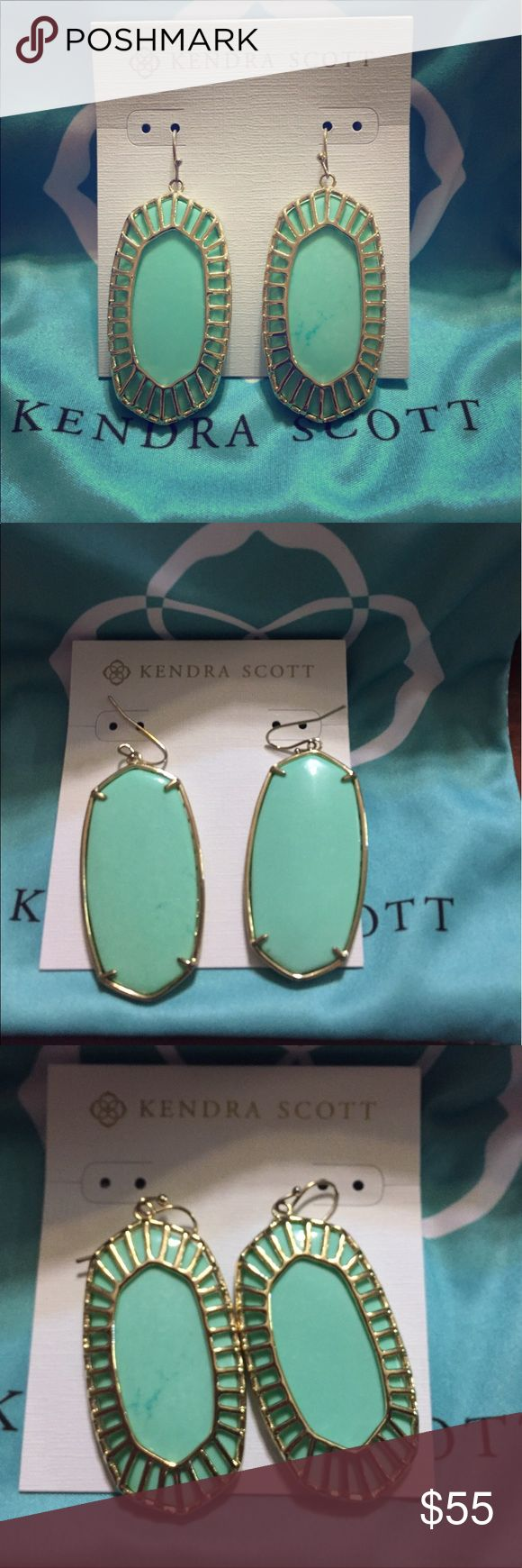 Kendra Scott Mint Earrings Kendra Scott oblong mint earrings. Mint and gold. Worn a few times, but they're just too heavy for me. Danielle size. Was purchased on Posh. EUC. Open for reasonable offers. Comes with dust bag, no backs. Kendra Scott Jewelry Earrings