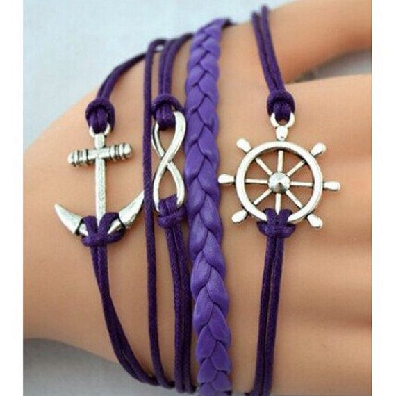 Handmade anchor infinity charm bracelet by lastnmoments on Etsy $14.95