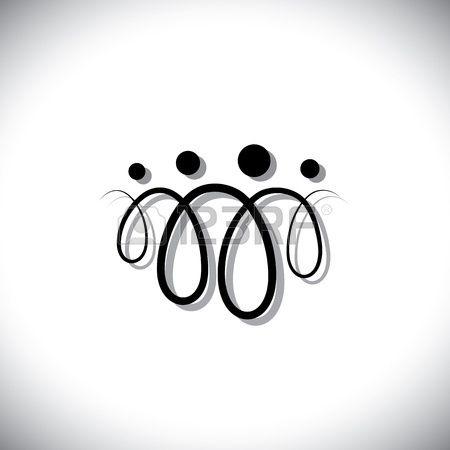 Famille de symboles abstraits personne sur quatre (icônes) à l'aide des boucles de lignes. Les icônes sont des père, mère, fils et fille en noir avec des lignes de couleur d'ombre
