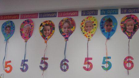 Ballon met een foto van de leerling en daarin de leeftijd van de leerling.