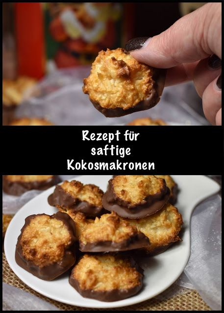 Super saftige Kokosmakronen mit Marzipan und Schokofüßchen