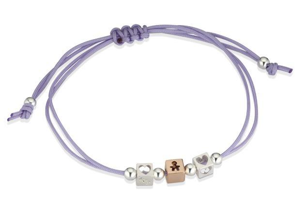Cordoncini - Composizione di Dadini con cordino nautico.Maschietto oro rosa, Cuori argento. Disponibile in lilla, nero, corda, turchese, magenta. #lebebe #dadini #ororosa #argento