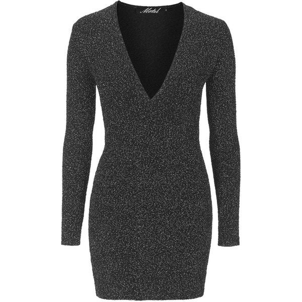 Meli Dress by Motel (€46) ❤ liked on Polyvore featuring dresses, silver, going out dresses, body con dress, body conscious dress, plunge bodycon dress and sparkly party dresses