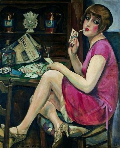 """Gerda Wegener (Danish, 1886-1940) - """"Lili Elbe"""" It is not a woman who served as the model for these paintings, but Gerda Wegener's husband, Einar Wegener. Lili Elbe was """"born"""" one day when Gerda asked Einar to wear stockings and heels so that she..."""
