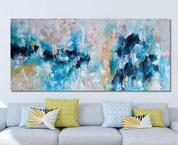 EXTRA LARGE Abstract Painting Free Shipping Wall Art Original Painting Blue  White 150 CM Large Canvas