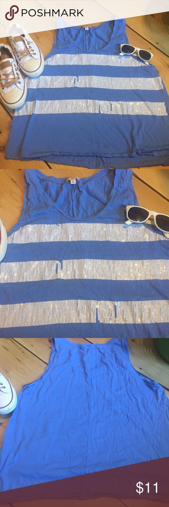 GAP Sequined Tank Top Size XL Summer 🌺 Beautiful blue tank top by Gap. Featuring white sequin stripes. Some sequins are missing but you can hardly notice when wearing. Size XL. GAP Tops Tank Tops