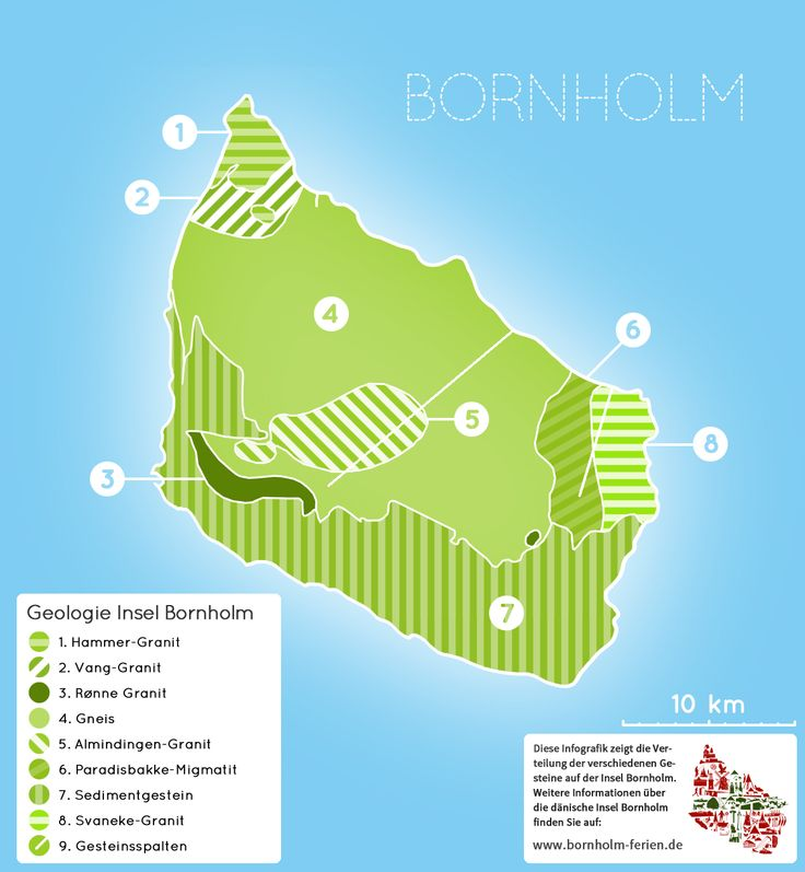 Geologische Karte der Gesteine auf der dänischen Insel Bornholm #karte #geologie #gestein #granit #gneis #insel #bornholm