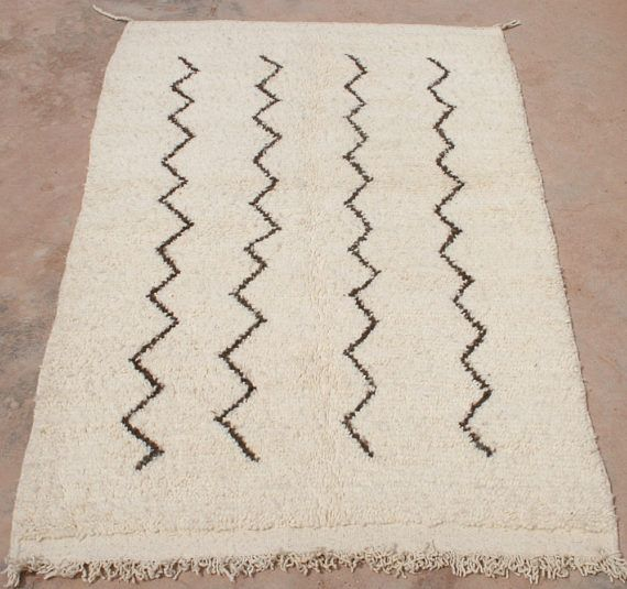 Small Handknotted Wool Rug 3x5 ft made of pure uncolored Sheeps Wool, Brown Zig Zag Lines, Moroccan Berber Rug, Cheap Beni Ourain Rug