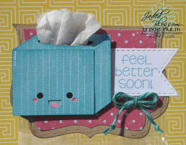 Created by Trixie using Fancy Topper Die, Candy Charms & Banner Dies, Get Well Soon and Gusset Bags. http://jadedblossom.bigcartel.com/
