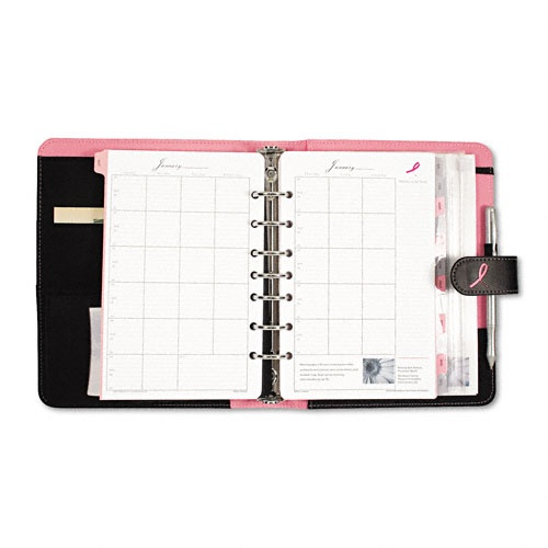 Pink Ribbon Organizer Starter Set w/Microfiber Binder, 5-1/2 x 8-1/2, Black/Pink  Get organized and support breast cancer research at the same time.  Includes 12 months of undated weekly and monthly pages.  Address/phone directory keeps contacts at your fingertips.