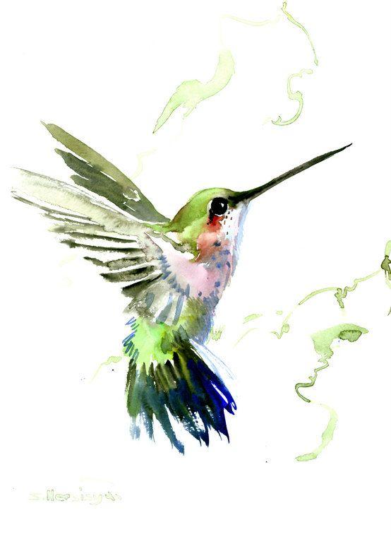Hummingbird painting, 14 x10 in,zen painting bird, minimalist wall art, hummingbird gift, Hawaii tropical art