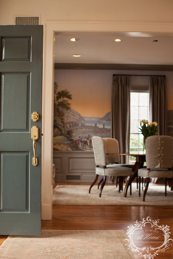I lacquered my front door in Amy Howard at Home Furniture Lacquer (Lagrange), because I wanted to create a bold first impression! I was so glad we were able restore this dining room to its original glory!  #AmyHowardAtHome #CraftingABeautifulLife #Zuber #Interior #DiningRoom #FrontDoor,