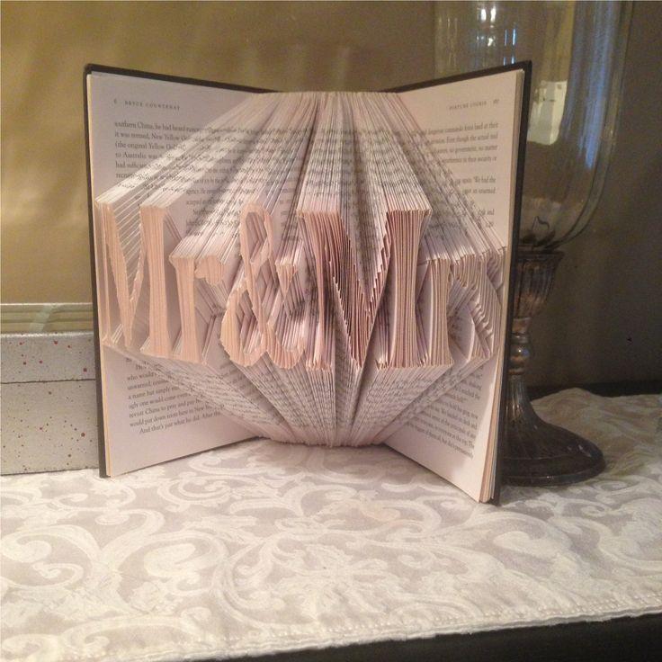 Mr & Mrs folded book art