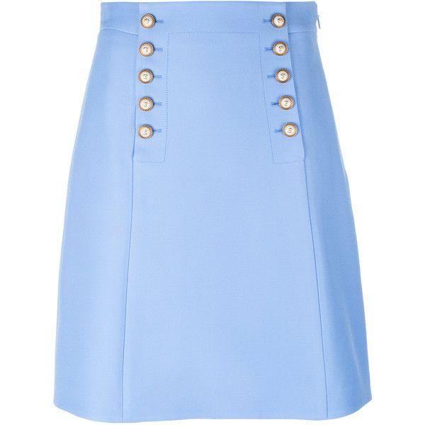 Gucci Matelot mini skirt (€1.100) ❤ liked on Polyvore featuring skirts, mini skirts, blue, nautical skirts, blue slip, mini skirt, embellished skirts and short mini skirts