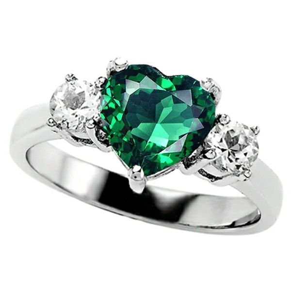 Star K 8mm Heart-Shape Simulated Emerald Engagement Ring Size 6.5 ($130) ❤ liked on Polyvore featuring jewelry, rings, emerald jewelry, heart engagement rings, emerald heart ring, heart shaped engagement rings and emerald ring